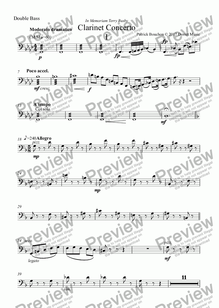 page one of the Double Bass part from Clarinet Concerto (First Movement)