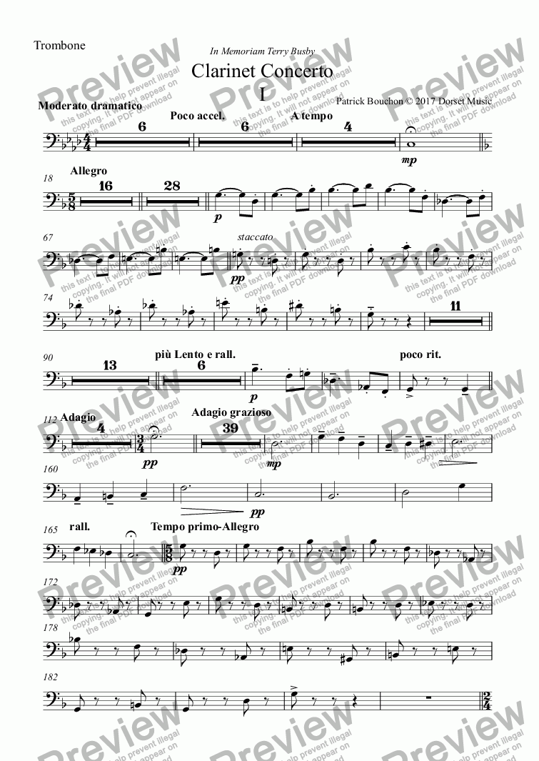 page one of the Trombone part from Clarinet Concerto (First Movement)