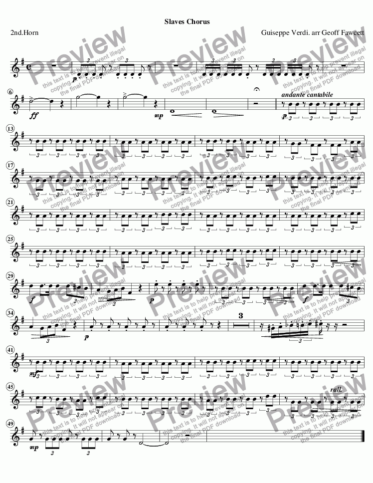 page one of the 2nd Horn part from Slaves Chorus from Nabucco