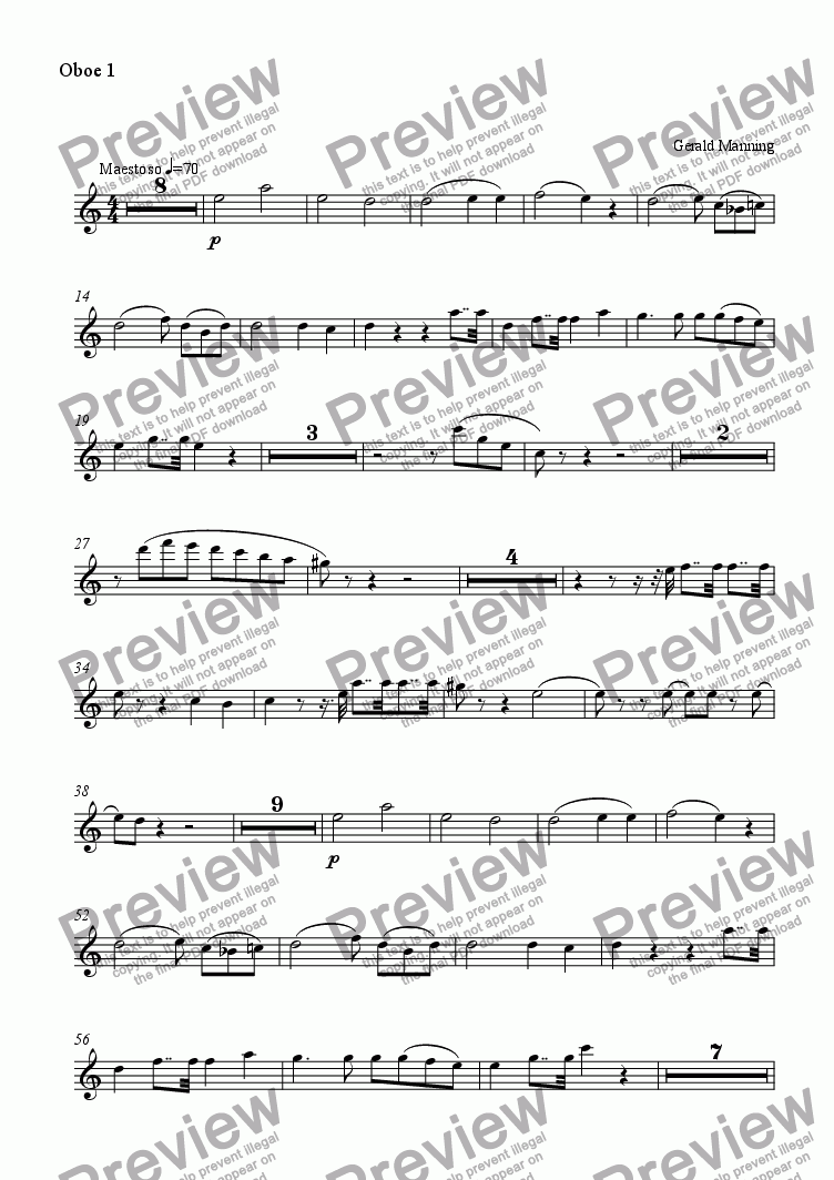 page one of the Oboe 1 part from MANNING, G. - Romance in A minor for Viola & Orchestra, Op.8