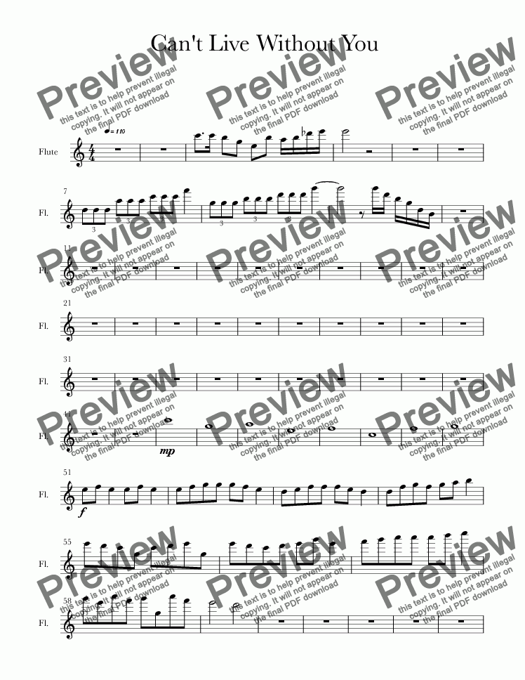 page one of the Flute part from Can't Live Without You (pop song)