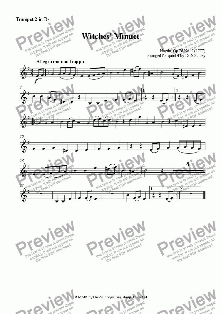 page one of the Trumpet 2 part from Witches' Minuet