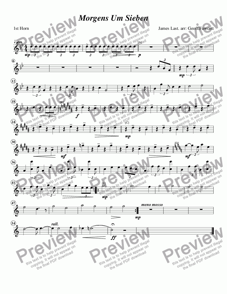 page one of the 1st Horn part from Morgens Um Sieben (Mornings at Seven)