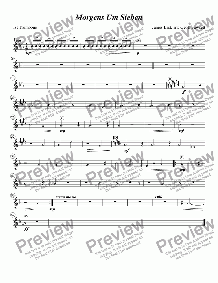 page one of the 1st Trombone part from Morgens Um Sieben (Mornings at Seven)