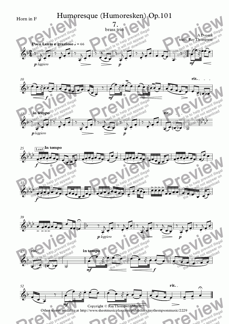 page one of the Horn in F part from Humoresque (Humoresken) Op.101  7.