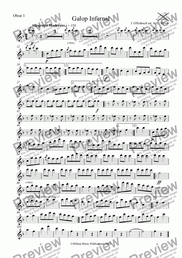 page one of the Oboe 1 part from Galop Infernal arr. three oboes and cor anglais