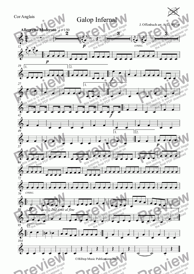 page one of the Cor Anglais part from Galop Infernal arr. three oboes and cor anglais