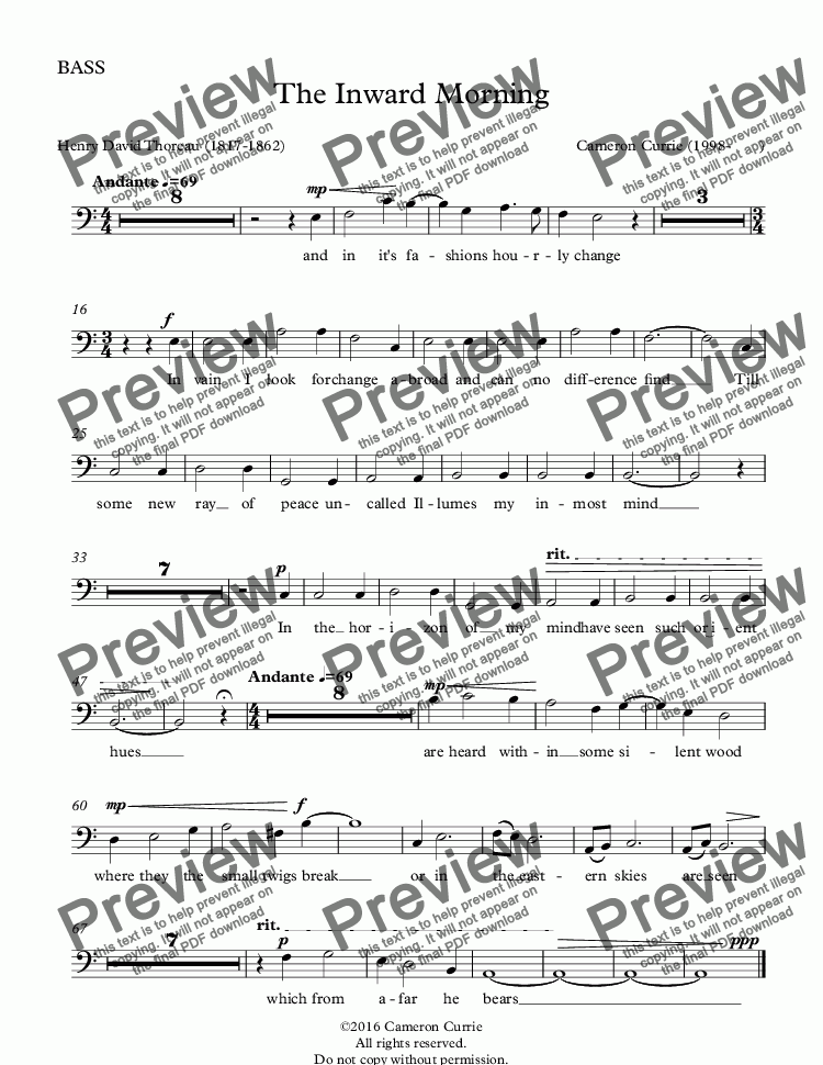 page one of the BASS part from The Inward Morning