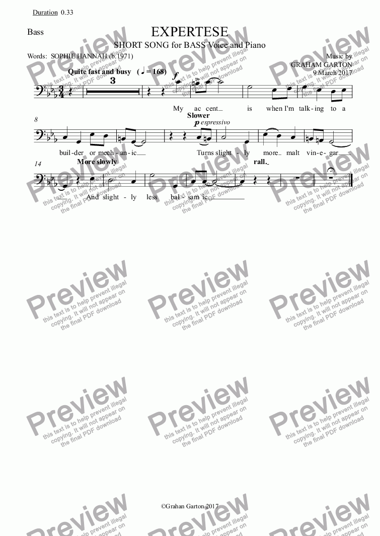 page one of the Bass part from SHORT SONG - 'EXPERTESE' for BASS Voice Key C min. Words: Sophie Hannah (b.1971)