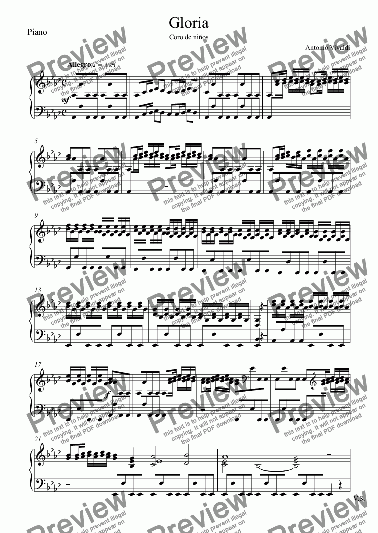 page one of the Piano part from Gloria
