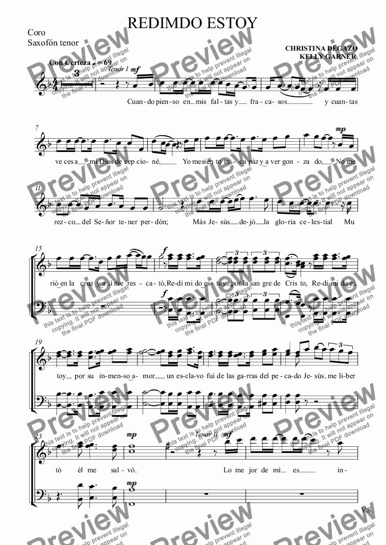 page one of the Coro, Saxofón tenor part from REDIMDO ESTOY