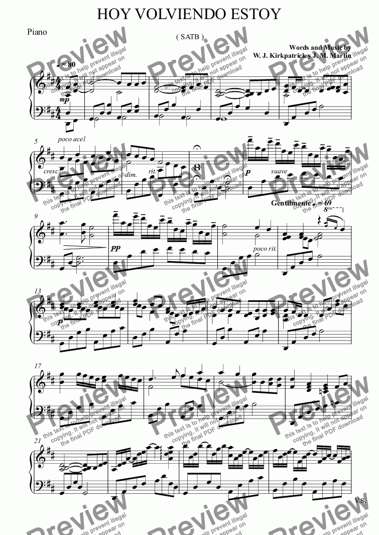page one of the Piano part from HOY VOLVIENDO ESTOY