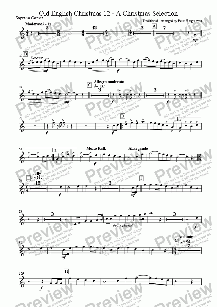 page one of the Soprano Cornet part from Old English Christmas 12 - A selection