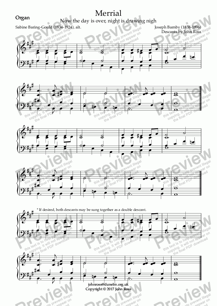 page one of the Organ part from Merrial (Now the day is over, night is drawing nigh) - Double descant