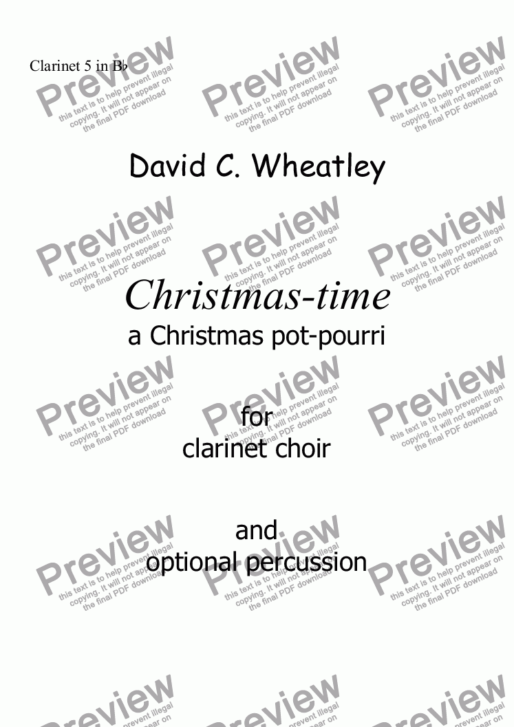 page one of the Clarinet 5 in Bb part from Christmas-time for clarinet choir by David Wheatley