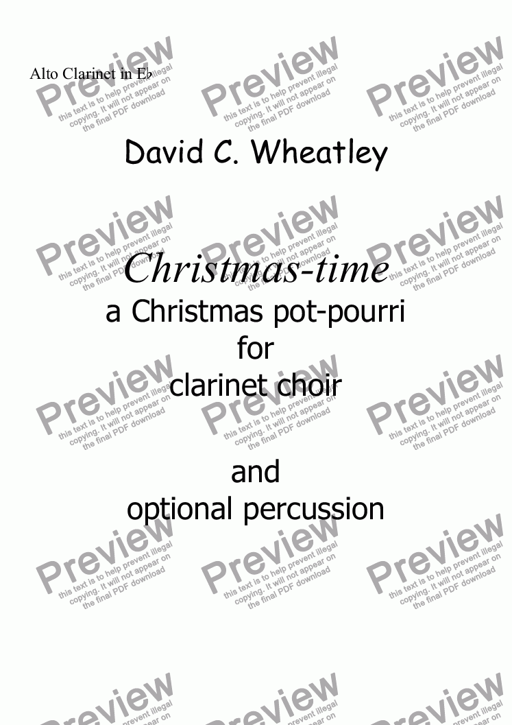 page one of the Alto Clarinet in Eb part from Christmas-time for clarinet choir by David Wheatley