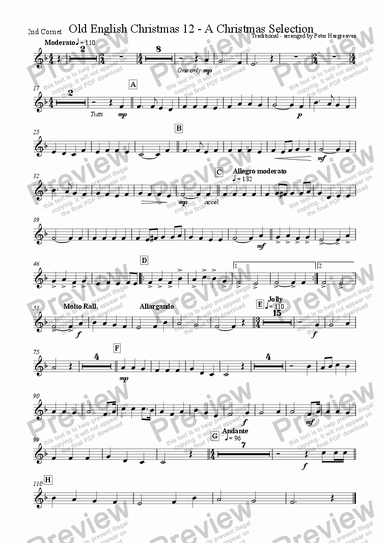 page one of the Second Cornet part from Old English Christmas 12 - A selection