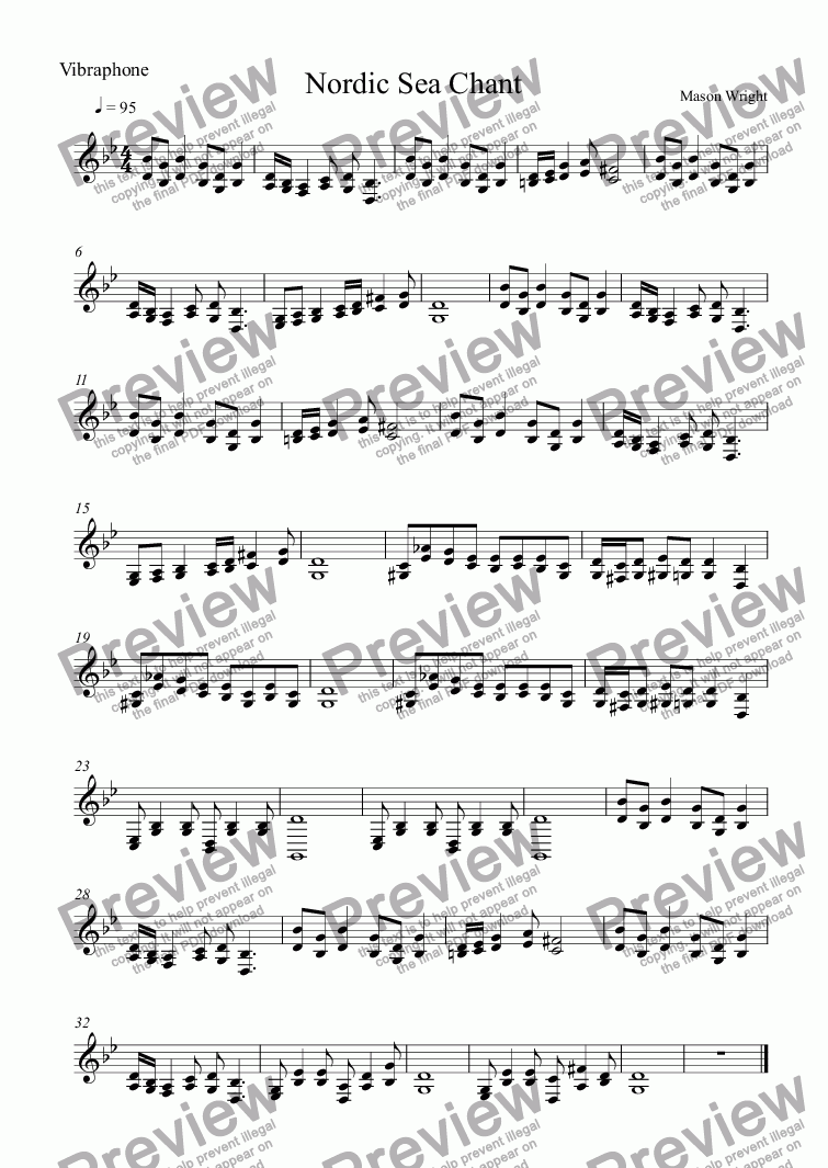 page one of the Vibraphone part from Nordic Sea Chant