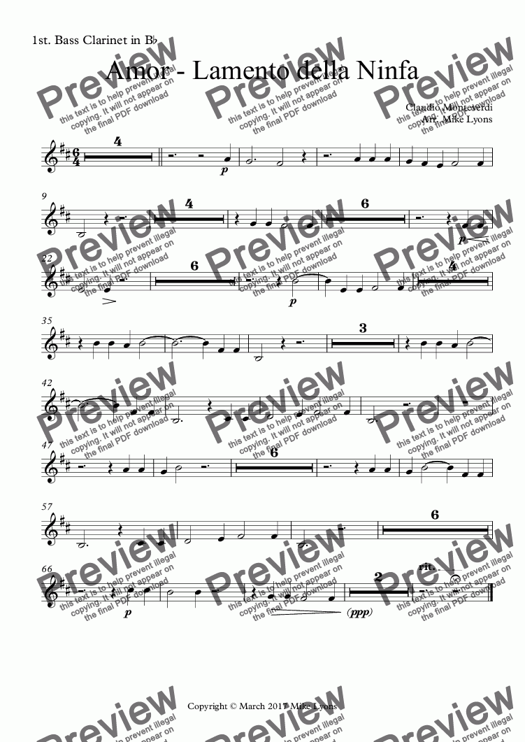 page one of the 1st. Bass Clarinet in B^b part from Clarinet Choir - Amor - Lamento della Ninfa