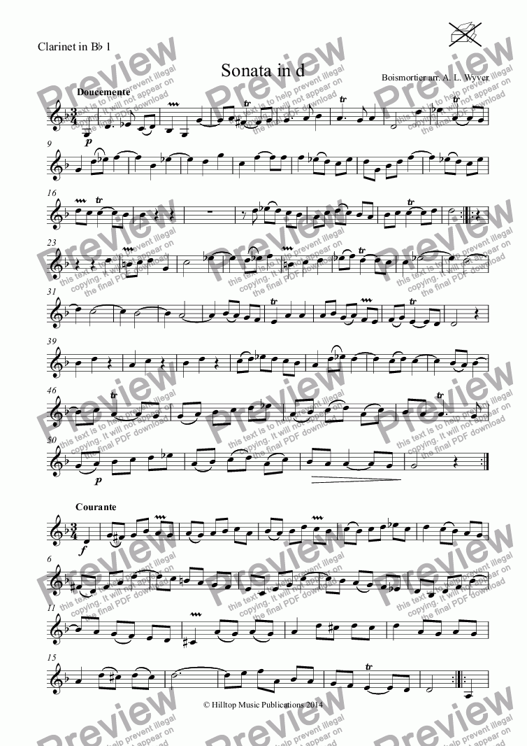 page one of the Clarinet in B^b 1 part from Boismortier Sonata in d arr. three clarinets