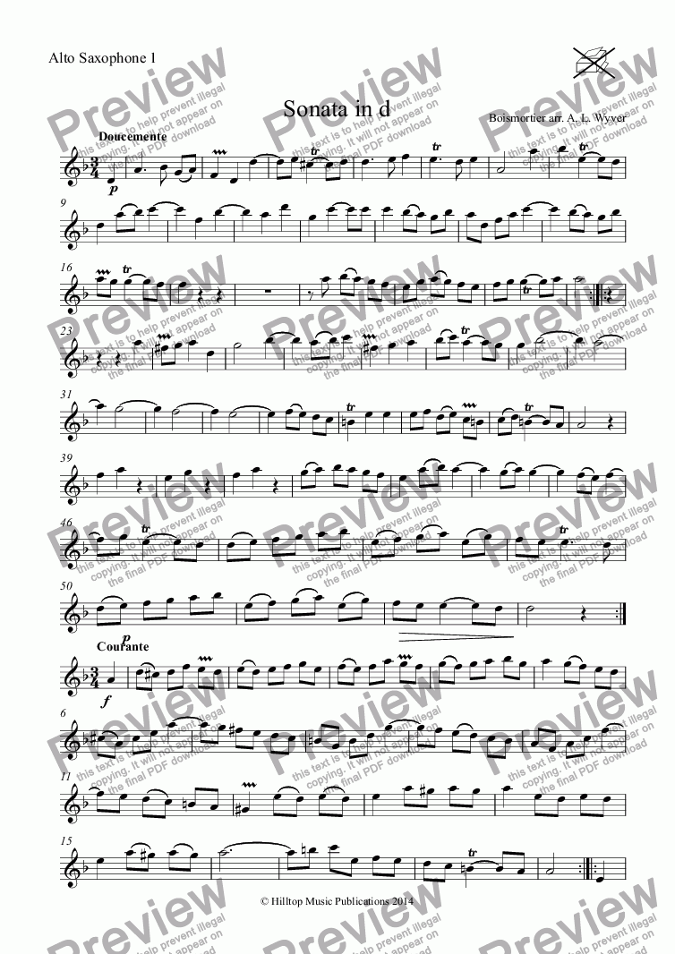 page one of the Alto Saxophone 1 part from Boismortier Sonata in d arr. three equal saxophones