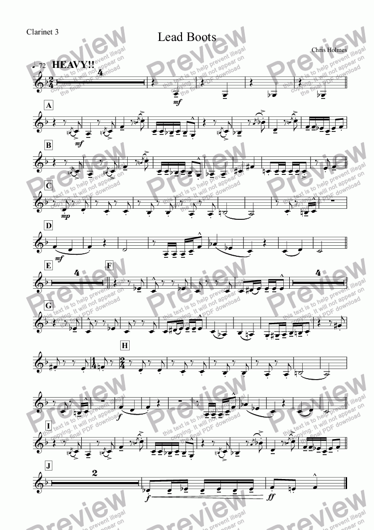 page one of the Clarinet 3 part from Lead Boots