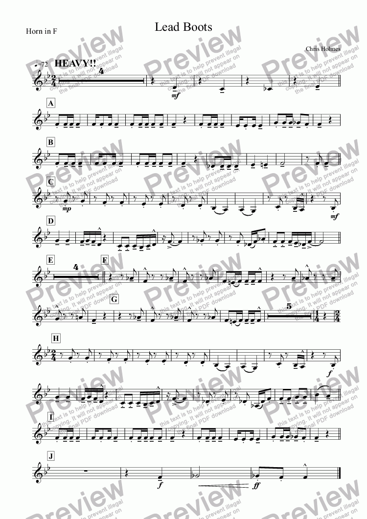 page one of the Horn in F part from Lead Boots