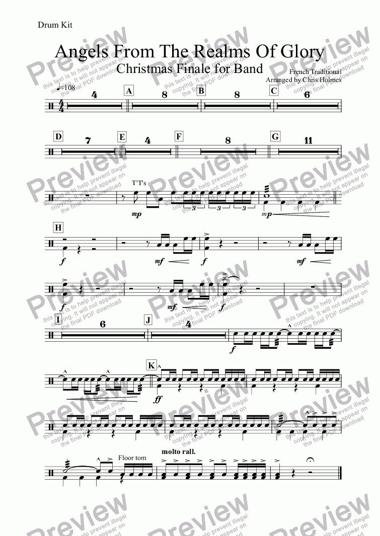page one of the Drum Kit part from Angels From The Realms Of Glory