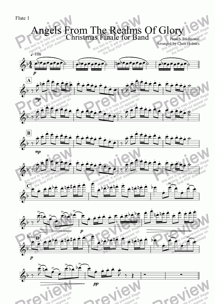 page one of the Flute 1 part from Angels From The Realms Of Glory