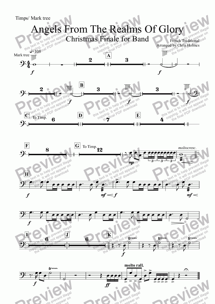 page one of the Timps/ Mark tree part from Angels From The Realms Of Glory