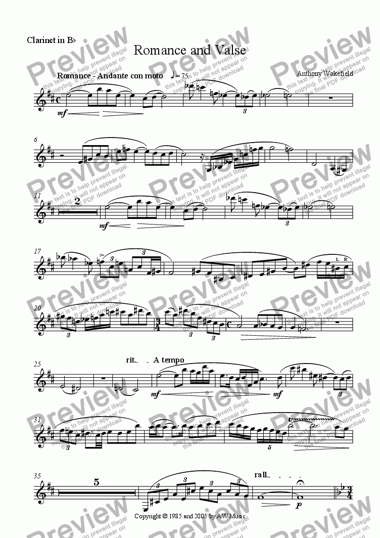 page one of the Clarinet in Bb part from Romance and Valse (Clar, Cello, Pno)