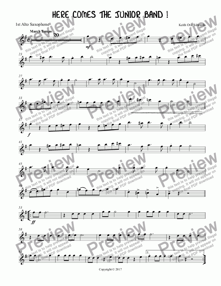page one of the Alto Saxophone 1 part from HERE COMES THE JUNIOR BAND !