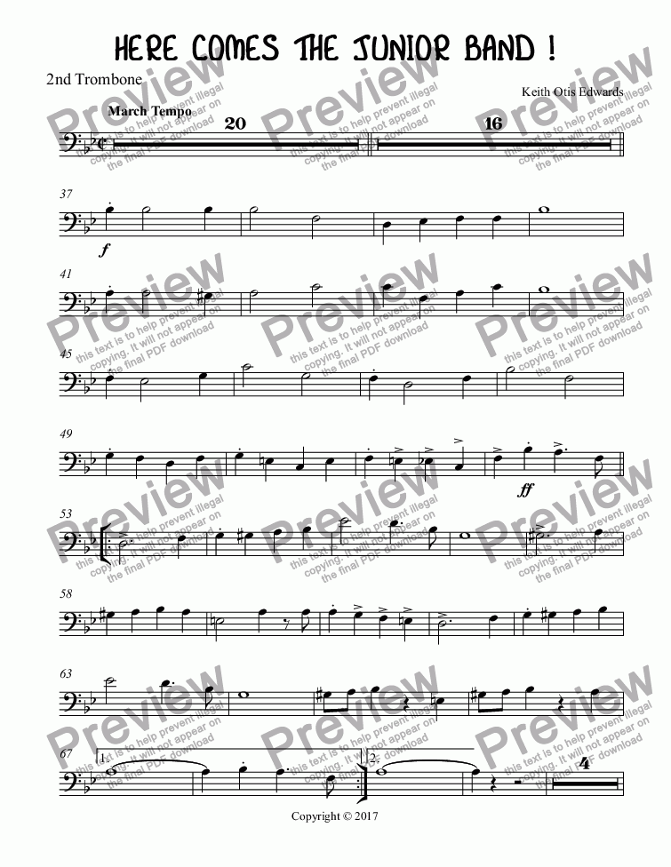 page one of the Trombone 2 part from HERE COMES THE JUNIOR BAND !