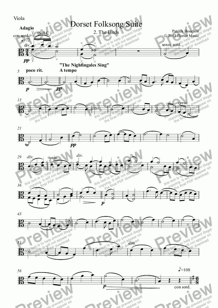 page one of the Viola part from Dorset Folksong Suite - 2. The Birds