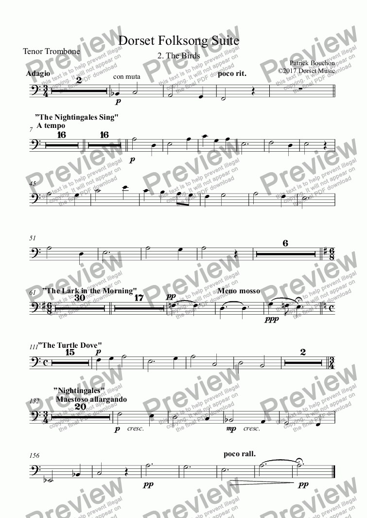 page one of the Tenor Trombone part from Dorset Folksong Suite - 2. The Birds