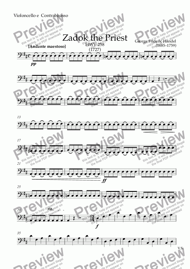 page one of the Violoncello e  Contrabbasso part from Coronation Anthem : Zadok the Priest HWV 258