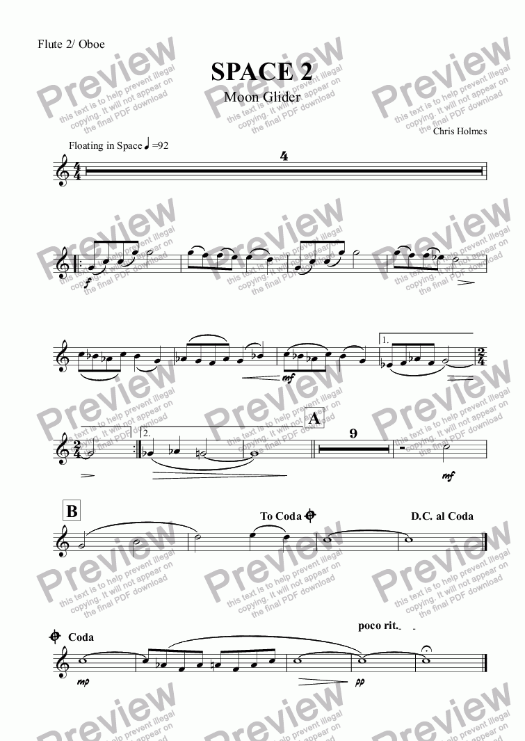 page one of the Flute 2/ Oboe part from SPACE 2 Moonglider