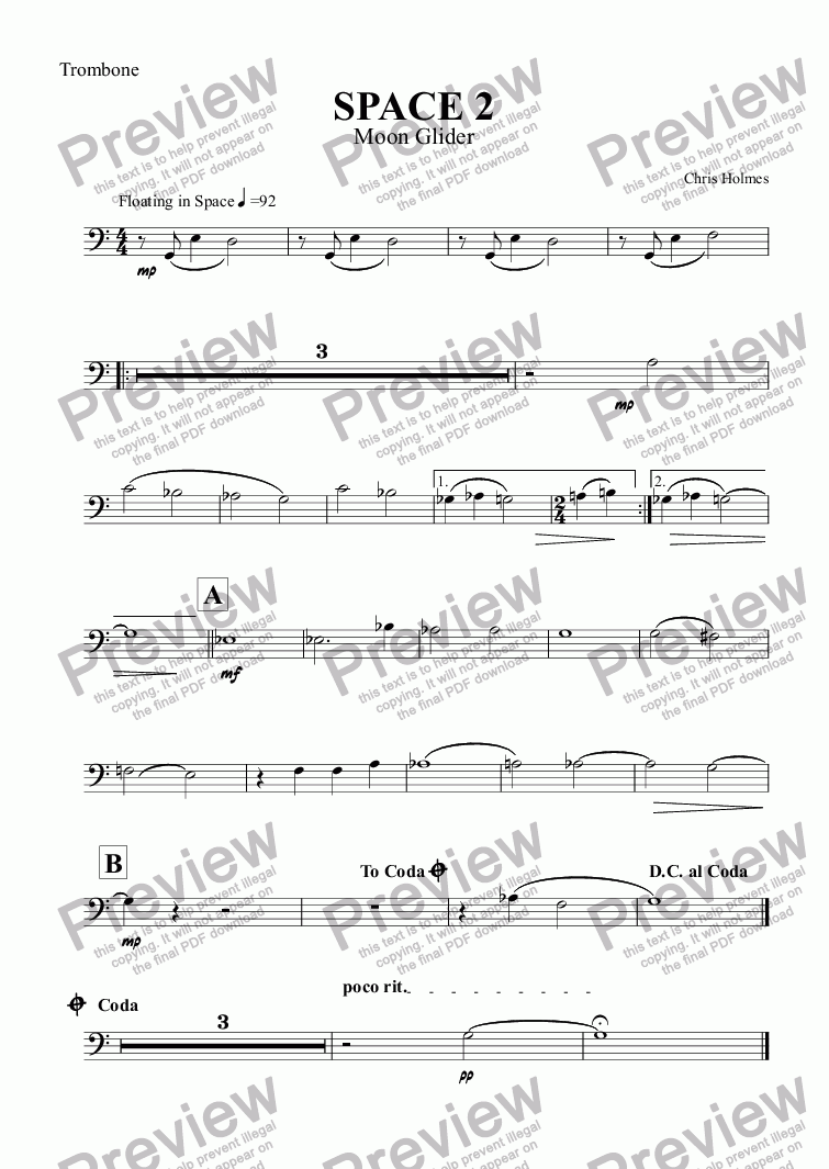 page one of the Trombone part from SPACE 2 Moonglider