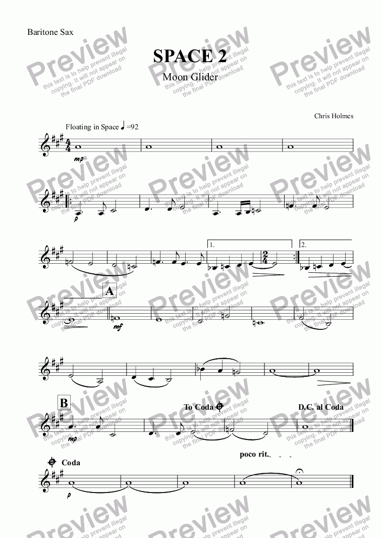 page one of the Baritone Sax part from SPACE 2 Moonglider