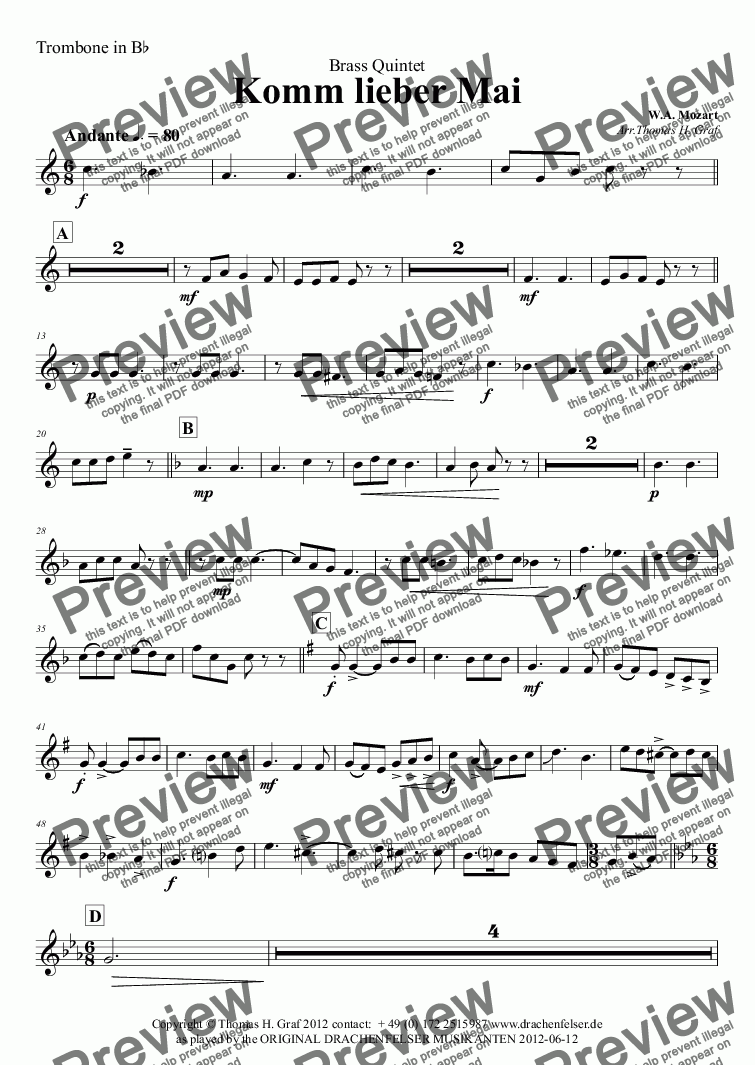 page one of the Trombone in B^b part from Komm lieber Mai - German Folk Song - Brass Quintet
