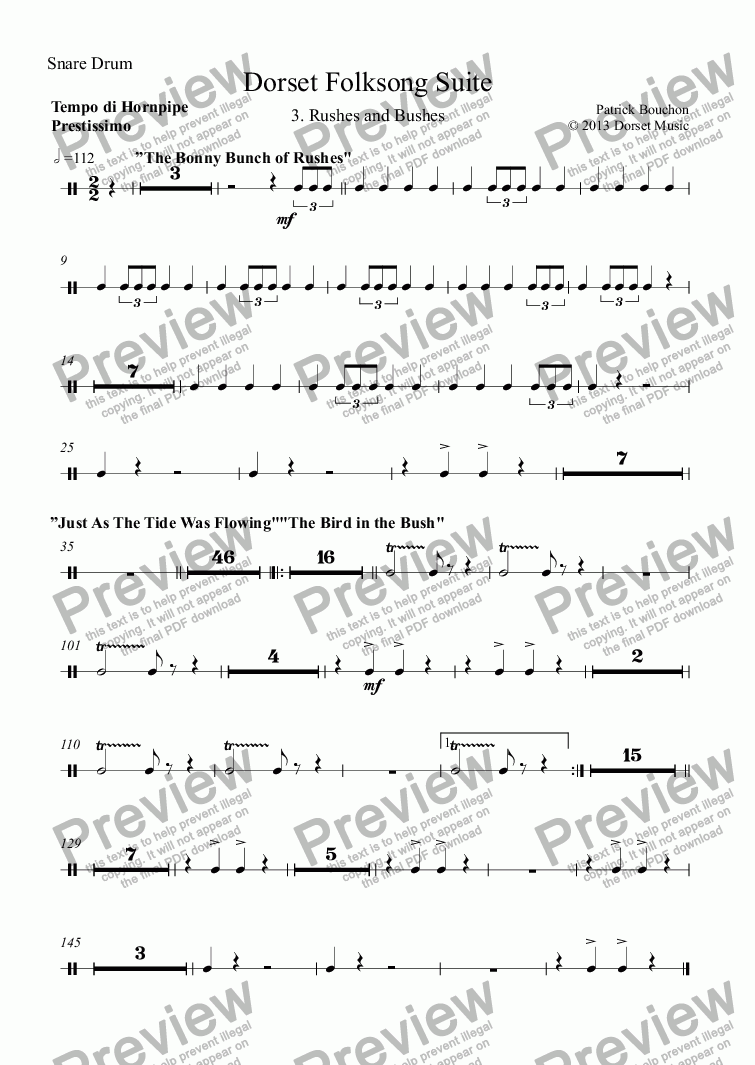 page one of the Snare Drum part from Dorset Folksong Suite - 3. Rushes And Bushes
