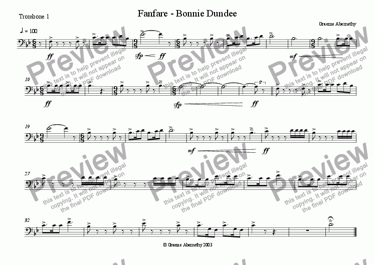 page one of the Trombone 1 part from Fanfare - Bonnie Dundee