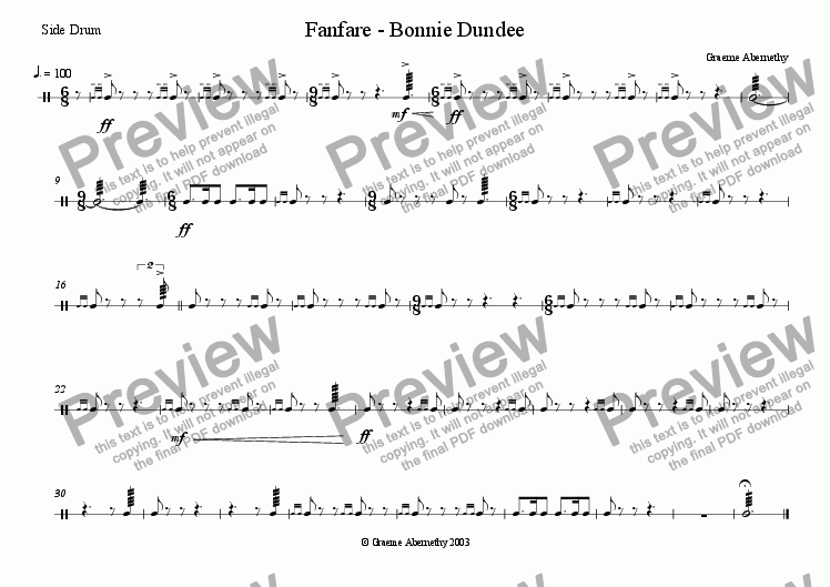 page one of the Side Drum part from Fanfare - Bonnie Dundee