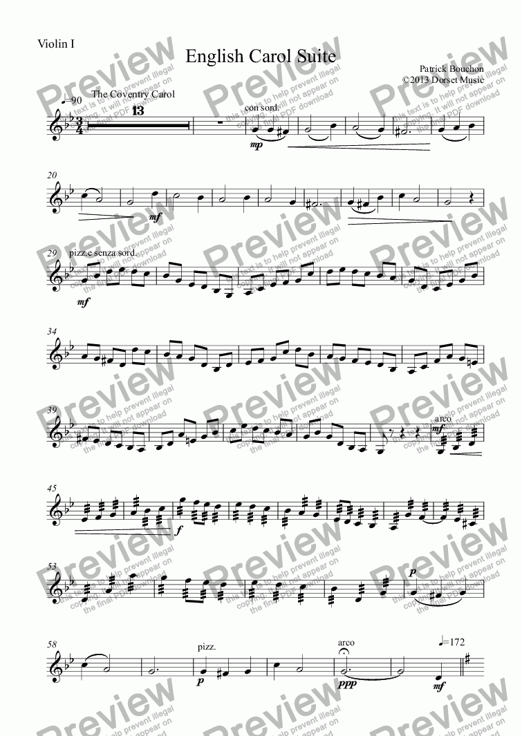 page one of the Violin I part from English Carol Suite