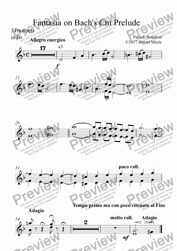 page one of the 3Trumpets in Bb part from Fantasia on Bach's C minor Prelude