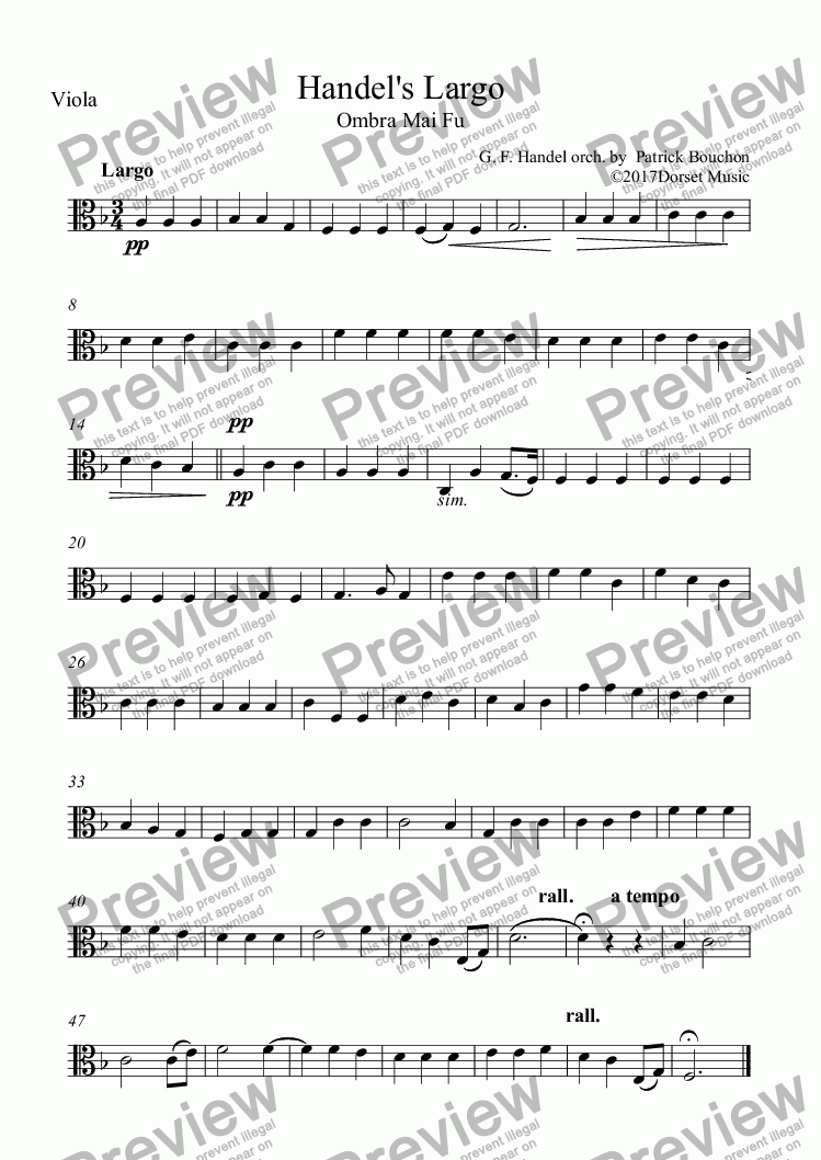 page one of the Viola part from Handel's Largo - Ombra mai fu