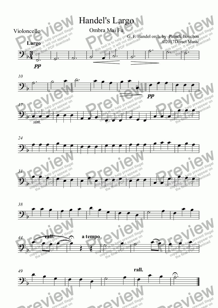 page one of the Violoncello part from Handel's Largo - Ombra mai fu