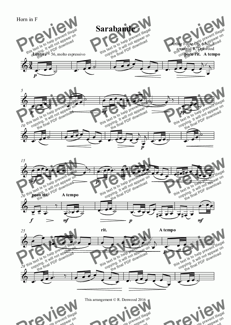page one of the Horn in F part from Foote - Sarabande for Horn in F & Piano