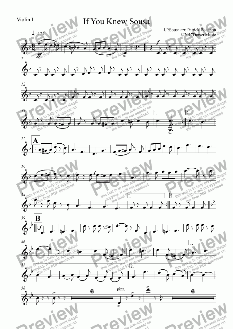page one of the Violin I part from If You Knew Sousa