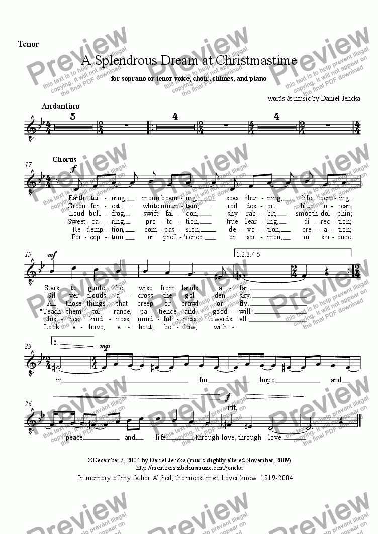 page one of the Choir Tenor part from A SPLENDROUS DREAM AT CHRISTMASTIME for Soprano or Tenor Voice, Choir, Chimes, and Piano